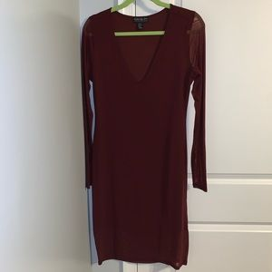 V-neck Bodycon Longsleeve Dress